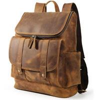 """Vintage Real Leather 16"""" Laptop Backpack Men Travel Satchel Daypack School Bag"""
