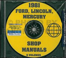 1981 Ford Lincoln Mercury Auto Negozio Manuale CD Mark Vi Town Mustang Tbird Ltd
