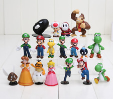 Super Mario Bros Mini Figures Figures 18pcs Set PVC Luigi Donkey Kong Yoshi New