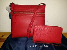 $286 Cole Haan Dorset Flat Crossbody Bag + Adeline Wallet/Ph Case/Wristlet RED