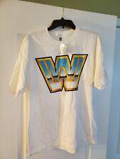 WWE Large Classic Logo White Wrestling T-shirt 2014 Size L Tee T-shirt New