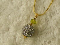 Goldtone Silvertone Rhinestone Ball Crystal Bead Pendant Necklace (D38)