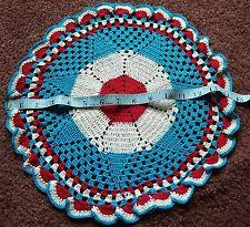 "Vintage Crochet Handmade 14"" Centerpiece Doily Doilies Red White Blue Star July"