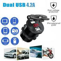 Red LED Dual Port USB Charger Socket Voltmeter Panel Car Motorcycle Boat 12/24V