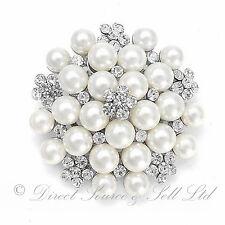 Faux Pearl Silver Diamante Flower Pin Broach Wedding Bouquet Bridal Ladies Gift