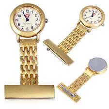 Best Brand Vintage Silver Stainless Steel Nurses Pocket Quartz Fob Watch Gold FZ