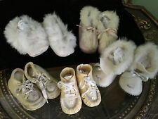 Lot 5 VTG Satin Sole Felt Fur Trim Ribbon Collectable Doll Baby Slippers Shoes