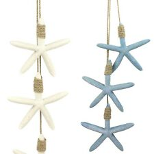 Hanging Trio 12 cm Starfish on Twine Nautical Tropical Decoration Blue or White