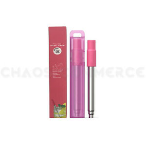 Portable Collapsing Telescopic Stainless Reusable Drinking Straw & Brush + Case
