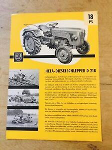 Prospekt HELA Hermann Lanz 18 PS Diesel-Schlepper Typ D 218, Ausgabe 1961
