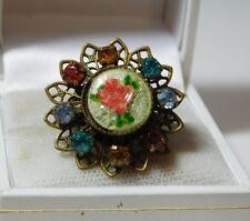 Vintage Rose Flower Enamel Multicolor Rhinestone Filigree Adjustable Ring 2d 77