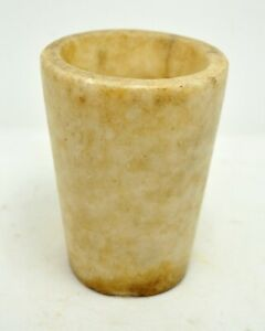 Antique White Marble Drinking Glass Cup Original Old Hand Carved Kitchenware