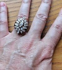 "14k White Gold Huge 1"" Round Diamond Cluster Flower Floral Spray Cocktail Ring"
