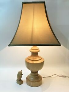 """FREEDOM Furniture """"Barker"""" Blonde Wood Table Lamp & Taupe Shade, P/Up 3108"""