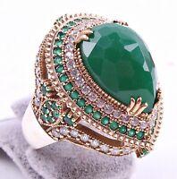 LUXURY Turkish Handmade Jewelry 925 Silver Emerald Stone Ladies Woman Ring US