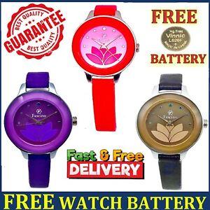 Ladies Women Wrist Watches Casual Dress Analogue Quartz Leather Strap Girl Watch