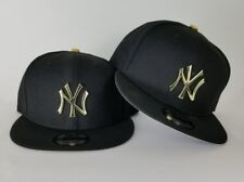 New Era Black New York Yankee Gold Metal Badge Logo 9Fifty Snapback Hat