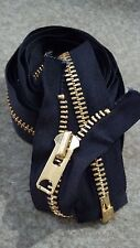 "USA VTG 1976 NOS Jacket Zipper TALON #10 Separating Metal BRASS=71"" BLACK/COTTON"