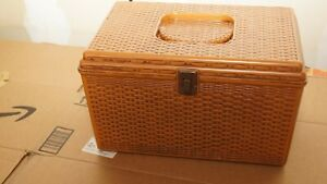 Vtg Wilson Wil-Hold Sewing Box Mustard Yellow Plastic Basket Weave  w/  Tray