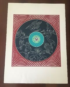 "Martin Barooshian (American) Etching c1981, ""Exotic Birds"", Signed & Numbered"