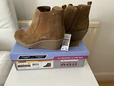 "Khombu ""Liz"" - Memory Foam Suede Leather Wedge Ankle Boots Zip- Chestnut  UK 4"