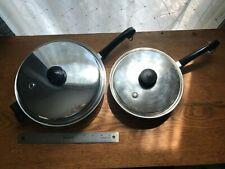 Saladmaster Stainless Steel 18-8 Tri Clad 11 & 9 Inch Skillet Sautés Pans w Lids