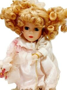 """Collector's Choice Porcelain Musical Moving Doll Blonde Curls 11"""" Bisque"""