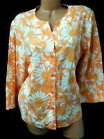 Cj banks orange semi see through floral print 3/4 sleeves button down top 1X