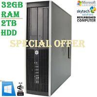 Cheap HP Elite 8200 SFF Fast Intel Core i5 3.10GHz 32GB RAM 2TB Windows 10 Wifi