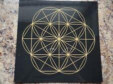 "Laminated Black Gold 8"" Flower of Life Gemstone Crystal Grid Metaphysical Bonus!"