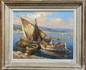 Ecole Marseille Tableau Marine Bateaux Martigues Huile sig Fortuné Car 1905-1970