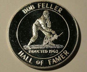 1962 MLB  BOB FELLER  HALL OF FAME SILVER Round 1 TROY OZ  .999 Pure Silver T514