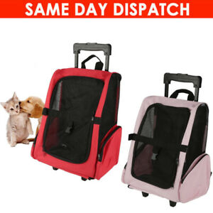 TRAVEL CARRIER PET BACKPACK BAG CAT PUPPY DOG TROLLEY WHEELS RED&PINK