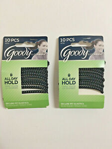 2 pk Goody StayPut Hair Tie Elastic Band Ponytailer Black No Slip Grip Slide