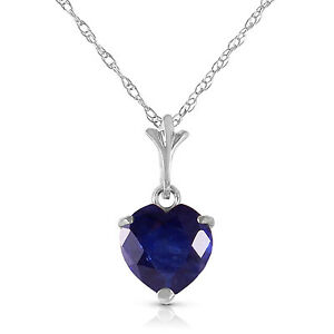 Genuine Sapphire Heart Gemstone Pendant Necklace 14K. Yellow, White or Rose Gold