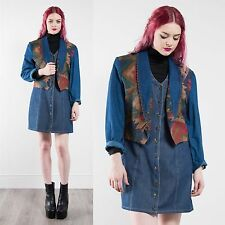 VINTAGE 90'S AZTEC PATTERN JACKET COTTON DENIM STYLE BLAZER FESTIVAL HIPPIE 14