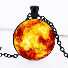 Flame Nebula Black/Bronze/Tibet silver glass dome chain Pendant Necklace