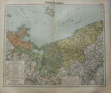 1908 Mappa Antica ~ Bandiera Pomerania Bornholm Stettin Stargard