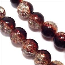 Lot de 20 Perles Craquelées en verre 12mm Bicolore Marron Cristal