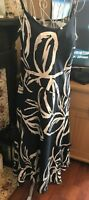 M&S Per Una Navy Linen Dress with White Floral Pattern - Size 12
