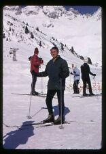 Org 35mm photo slide 1970s Winter Snow scene - Man on skis St Anton