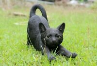 NEW Stretching Large Black Cat Figurine - Life Like Statue Home / Garden