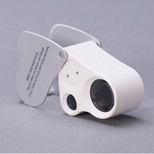 60X 30X Glass Magnifying Magnifier Jewelry Loupe Loop LED Light