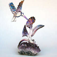 Hummingbird Sculpture Blown Glass Amethyst Crystal Gold