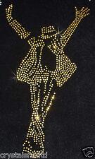 MJ micheal Jackson Gold iron-on RHINESTONE Diamante Bead Transfer Applique craft
