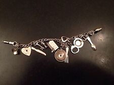 Coro Signed Silver Tone 13 Charm Bracelet Cooking Ashtray Love Detector Vintage