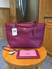 COACH Pebbled Leather Sm Sophia Tote With Matching Wristlet. Cyclamen. 36604 NWT
