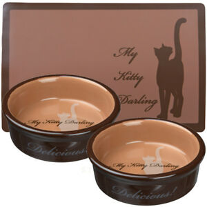 2 x Trixie My Kitty Darling Ceramic Cat bowls 0.2 l/ø 12cm & Matching Placemat