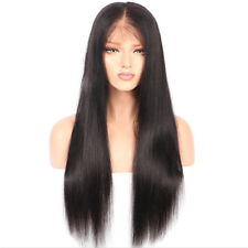 "26"" Black Human Hair Wigs For Women Long Straight Lace Front Full Wig Baby Hair"