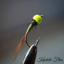 Chartreuse Hot Head Olive Nymph Size 14 (Set of 3) Fly Fishing Flies Grayling